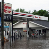 New Hartford, IA  June 9, 2008  -  The convenience store on York Street is closed until further notice due to last night's flooding of Beaver Creek.  The town's 698 residents were evacuated when the heavy rains started covering the streets.  Photo by Greg Henshall / FEMA